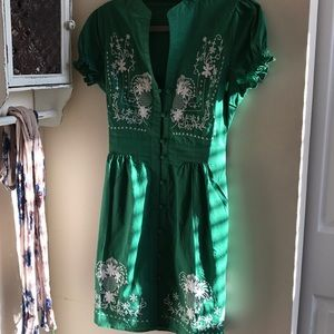 Needlework it Out A-Line Dress in Green in M